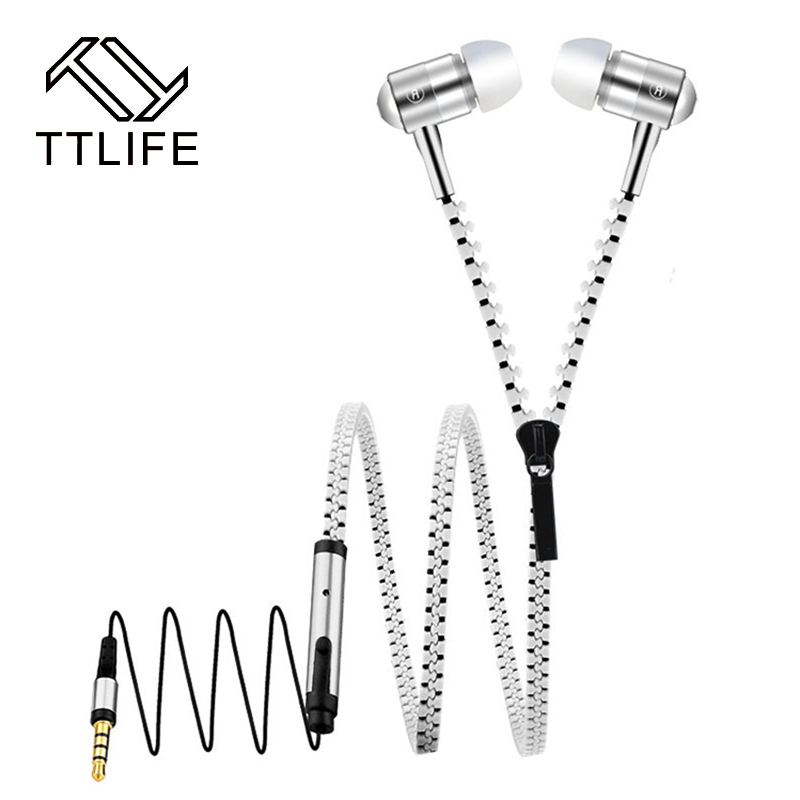 TTLIFE Zipper In-Ear Earphones Super Bass Stereo Sport Wired Running Earbuds Headphones With Microphone For phone for xiaomi glaupsus gj01 in ear 3 5mm super bass microphone earphones earplug stereo metal hifi in ear earbuds for iphone mobile phone