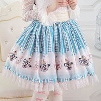 Alice In Wonderland Skirts Teapot And Bunny Pattern Skirts Cute Design Cos Alice Princess Short Skirt