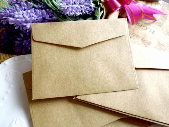 50pcs Small Vintage Brown Solid Kraft Gift Paper Bags Mini Party Favor Paper Envelopes 10X7.5CM