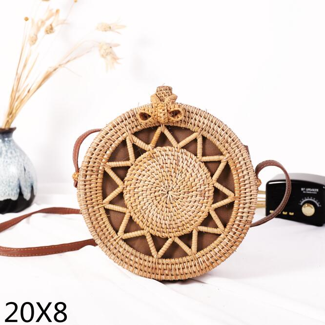 Woven Rattan Bag Round Straw Shoulder Bag Small Beach HandBags Women Summer Hollow Handmade Messenger Crossbody Bags 15