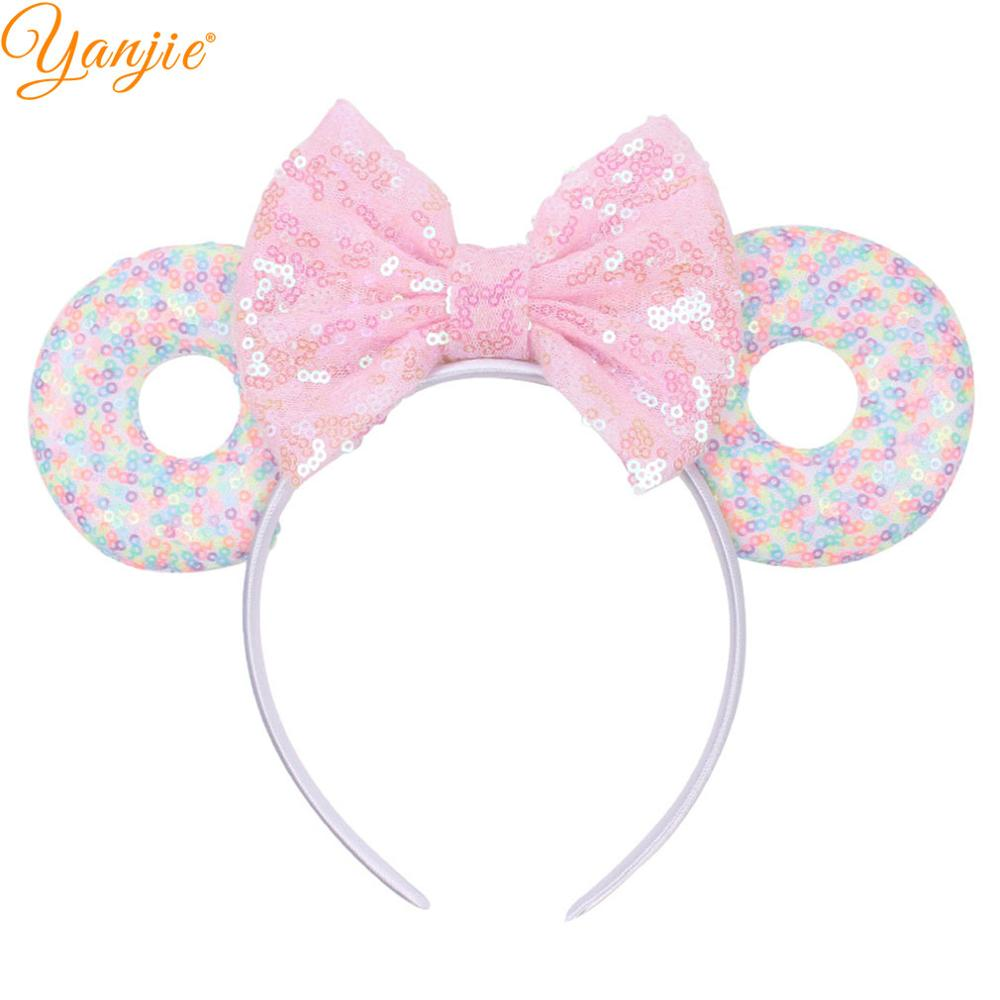 "3.3""Minnie Mouse Ears Headband 2019 New Arrival Glitter Sequins Bows Donut Wholesale Hair Band For Women Girls Hair Accessories(China)"