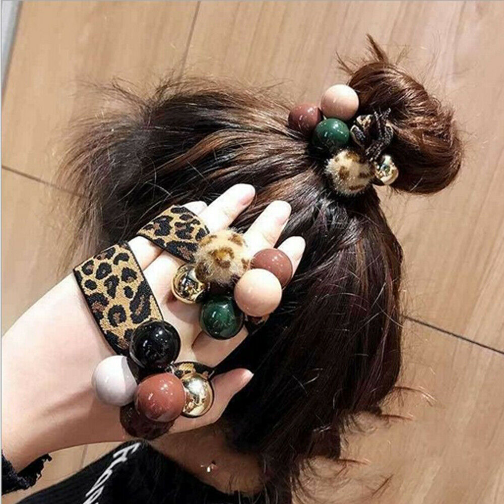 2019 Fashion Women Elastic Hair Ties Band Ropes Ring Ponytail Holder Beading Leopard Accessories(China)