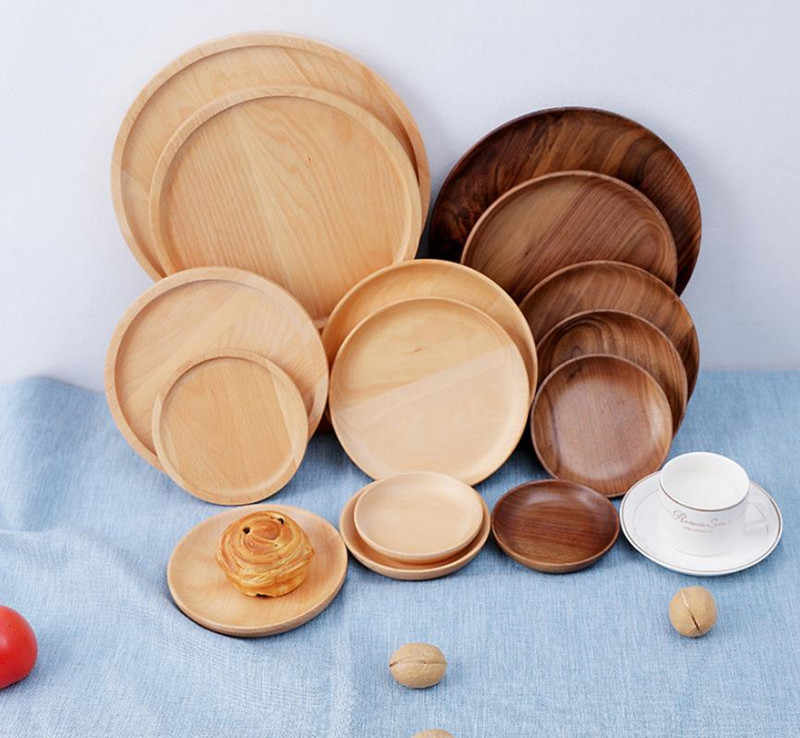 Irregular Round Solid Wood Walnut Wood Pan Plate Fruit Dishes Saucer Tea Tray Dessert Dinner Plate Tableware Set