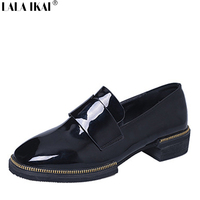British Slip On Shoes Women Leather Loafers Fashion Round Toe Patent Leather Women Shoes Zapatos Mujer