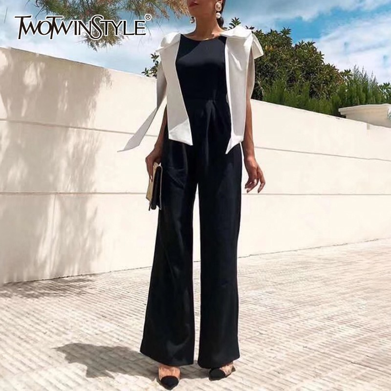 TWOTWINSTYLE Summer Backless Jumpsuits For Women O Neck Sleeveless Bowknot Bandages High Waist Sexy Pants Female 2020 New