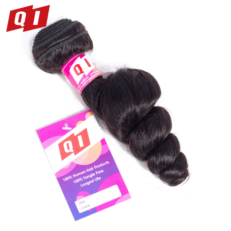 QI Hair 100% Brazilian Human Hair Loose Wave Bundles Natural Color 8-26 Inches Non Remy Human Hair Extensions Hair Weave 1 PC