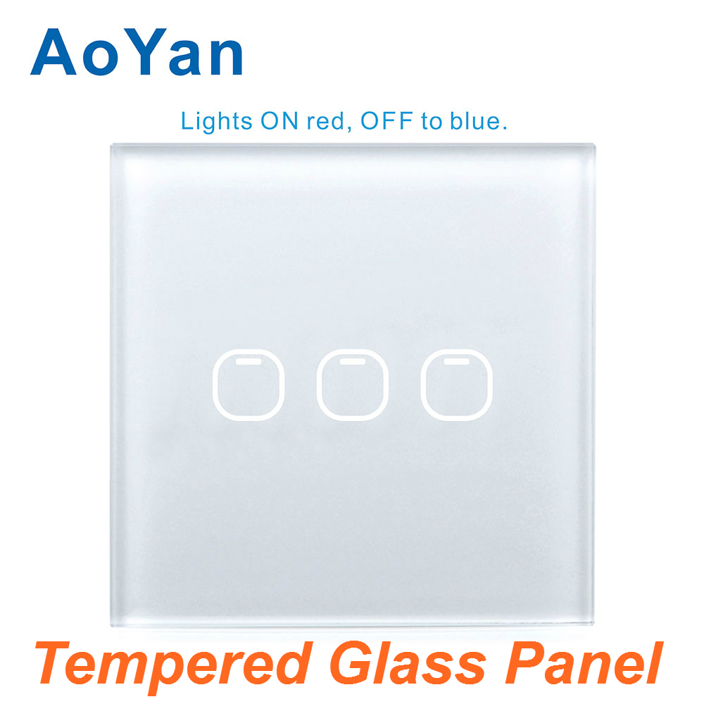 AoYan Switch 1 2 3 Gang 1 Way Glass Panel RF433 MHZ Remote Light Switch LED Indicator For Smart Home Touch Switch smart home uk standard crystal glass panel wireless remote control 1 gang 1 way wall touch switch screen light switch ac 220v
