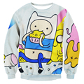 3D Character Printed Adventure Time Sweatshirts Men Women Fitness Tops Pullovers Fashion Casual Crewneck Hoodies Clothing