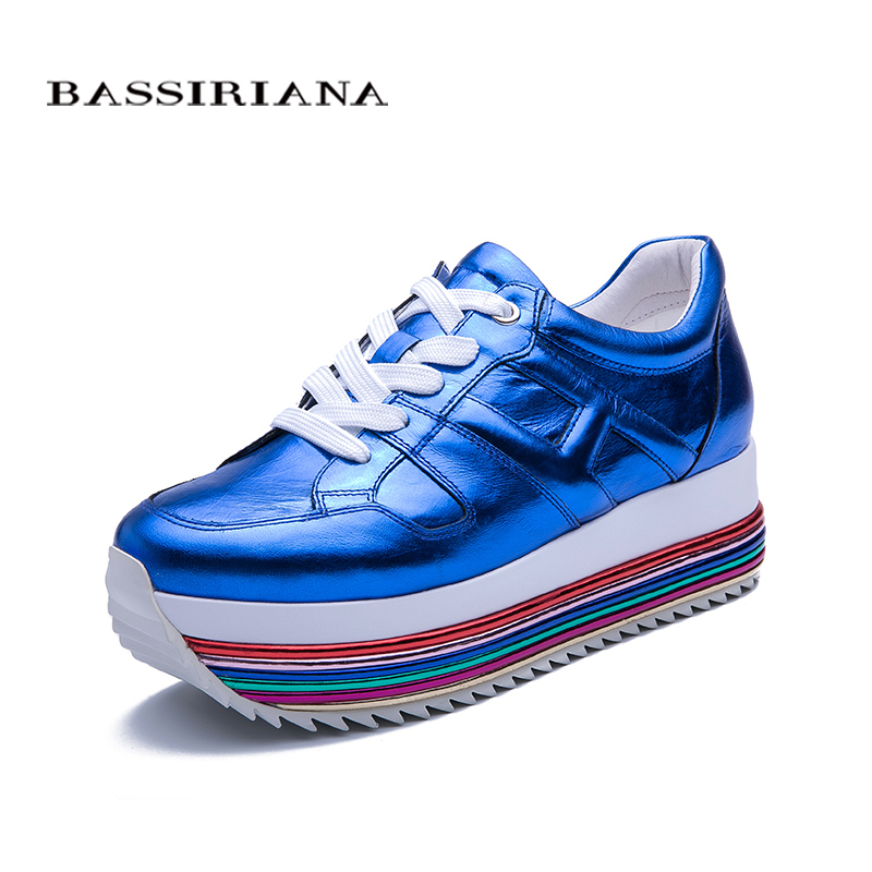 BASSIRIANA 2019 new spring natural leather womens shoes flat casual shoes fashion platform shoes color blue and whiteBASSIRIANA 2019 new spring natural leather womens shoes flat casual shoes fashion platform shoes color blue and white