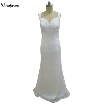 White Chiffon Beach Wedding Dresses 2018 Sexy Straps Pleated Backless Bridal Gowns Custom Made