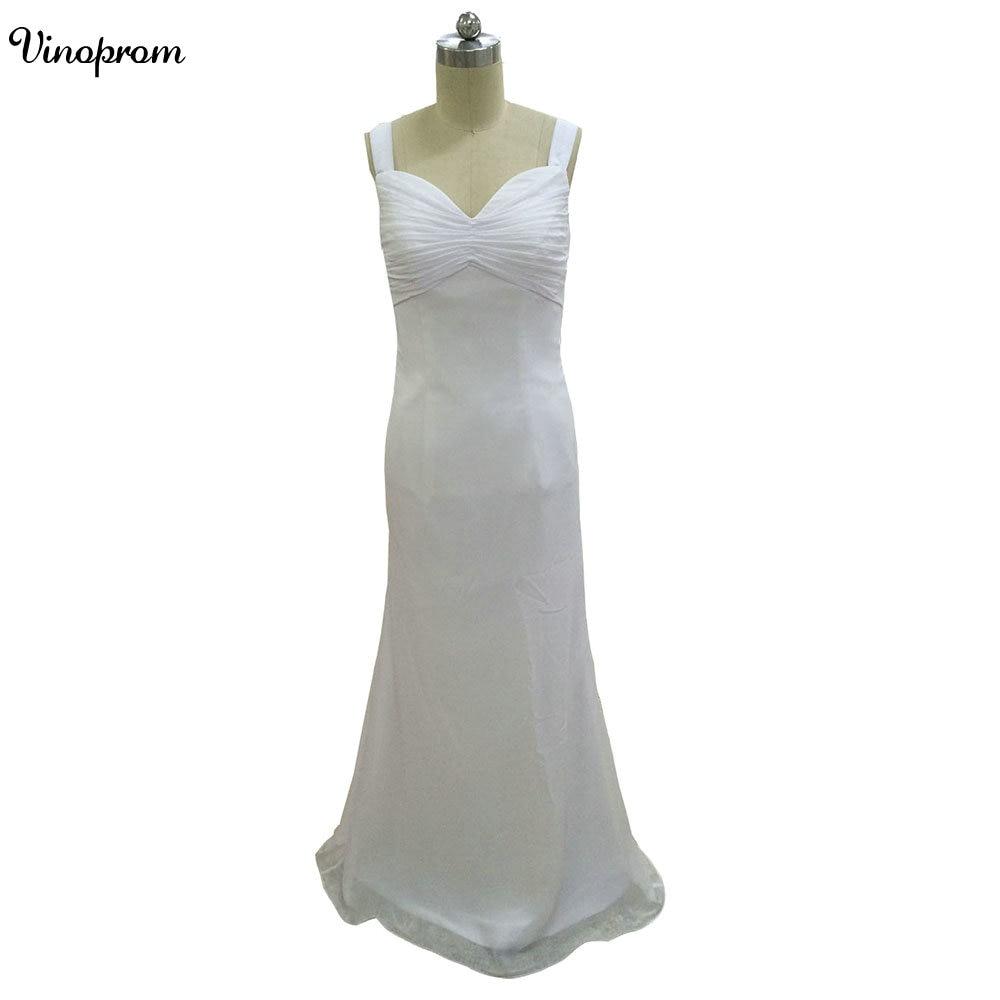Белые шифоновые пляжные торжественные платья 2018 Sexy ремни плиссированные спинки Свадебные платья индивидуальный заказ