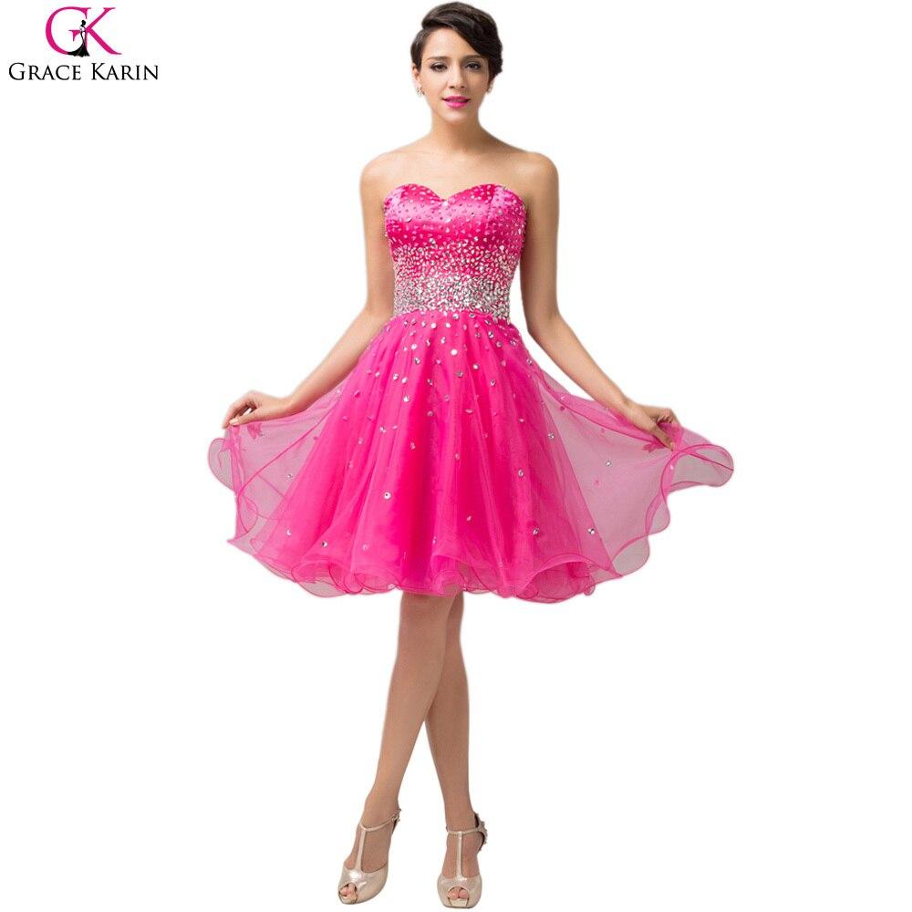 Grace Karin Short Evening Dresses Vestidos Strapless Organza Pink ...