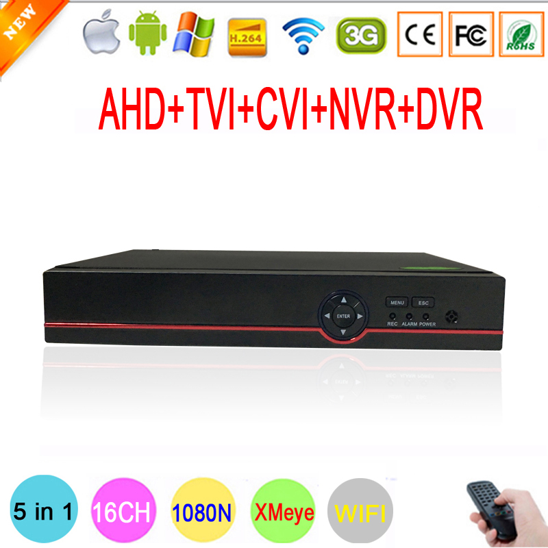 Xmeye App Hi3521A 16 Channel 16CH 5 in 1 WIFI 1080P Surveillance Camera 1080N Hybrid Onvif IP NVR TVI CVI AHD DVR Free shipping
