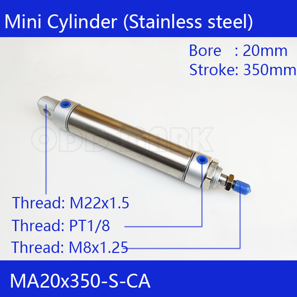 Free shipping Pneumatic Stainless Air Cylinder 20MM Bore 350MM Stroke , MA20X350-S-CA, 20*350 Double Action Mini Round Cylinders 41 1mm 350 cylinder
