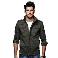Hot Quality Men S Autumn And Winter Jacket Army Green Jacket Stand Collar Men S Coat