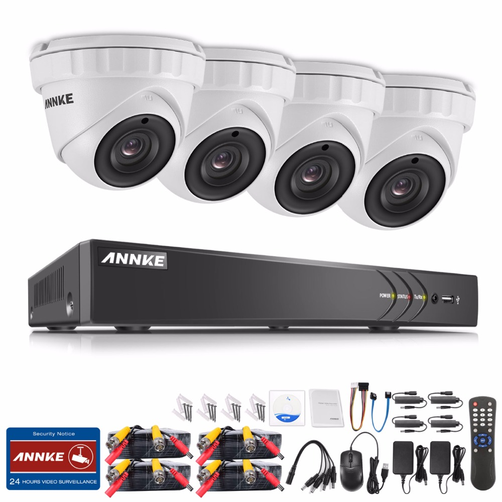 ANNKE 4CH 3MP TVI CCTV System HDMI Hybrid CCTV DVR 4PCS 3MP 1920 1536 IR Outdoor