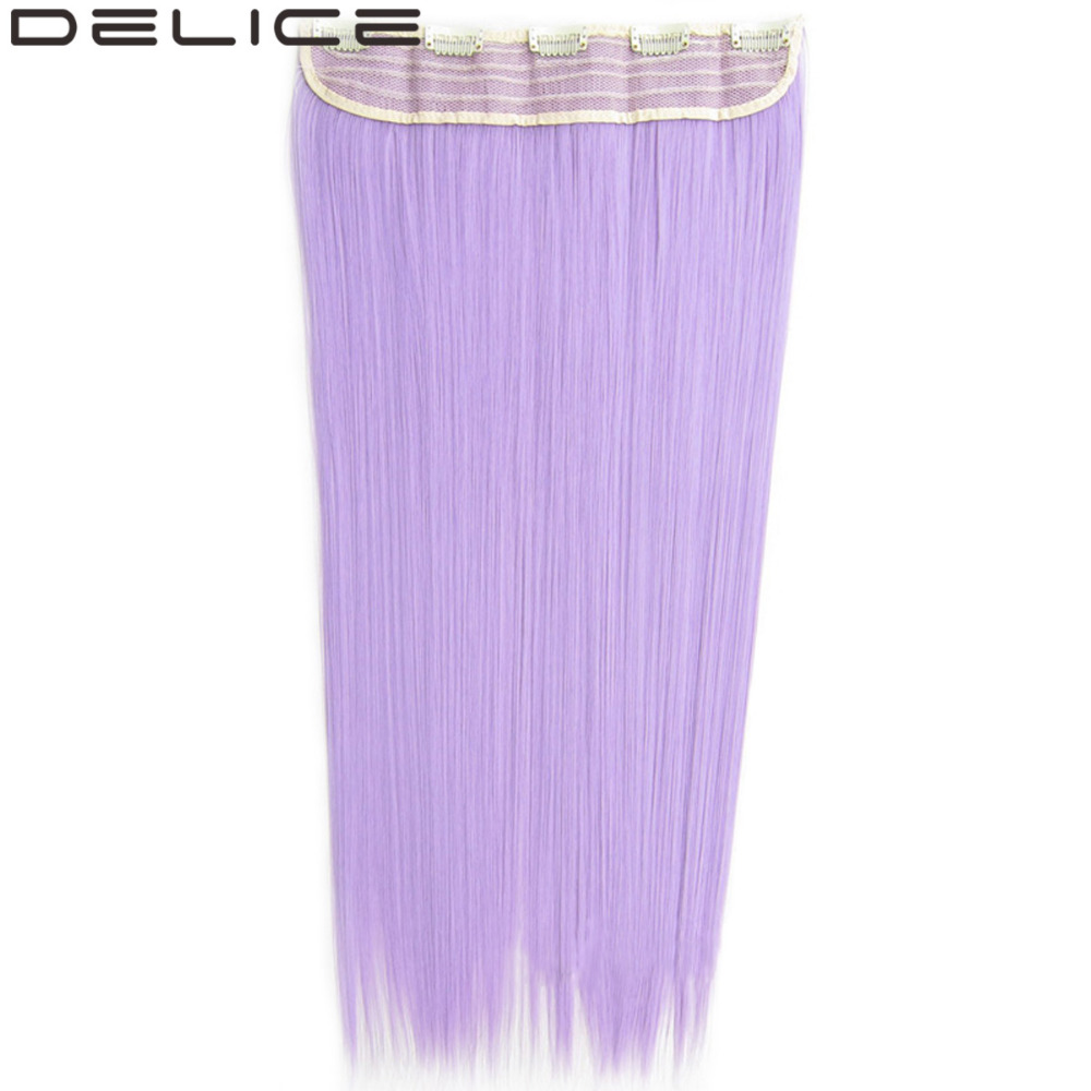DELICE 24 130g 5 Clips One Piece Women s Long Silky Straight Clip In Synthetic