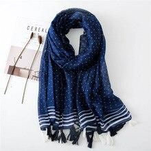 Испанский роскошный бренд петля точка кисточкой шаль из вискозы шарф для женщин высокое качество глушитель осень зима хиджаб Sjaal fulards мусульманский