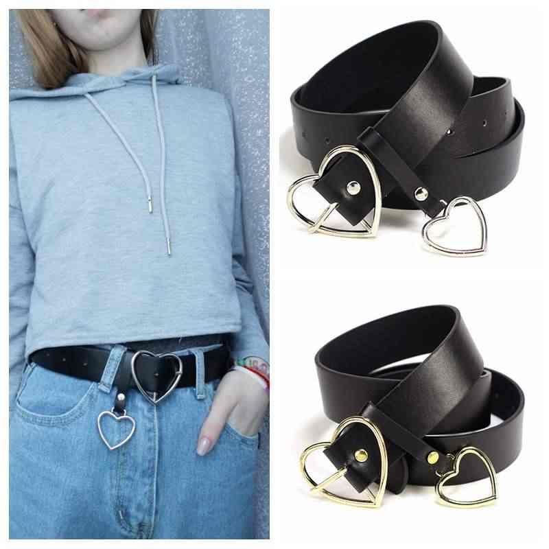 52e21abd34 Oro de corazón de plata redonda hebilla cinturones para las mujeres de ocio  Jeans salvaje cinturón