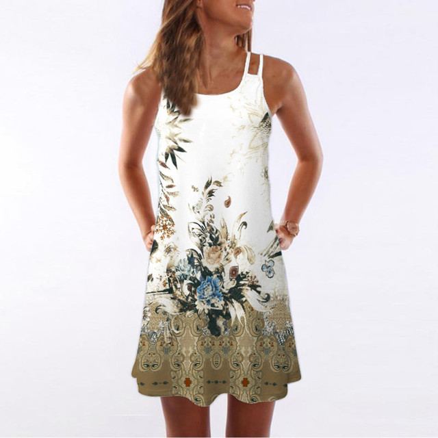8a0c068a92f9f5 2019 Women Breathable Summer Dress Vintage Sleeveless 3D Floral Print Bohe  Tank Short Mini Dress Drop