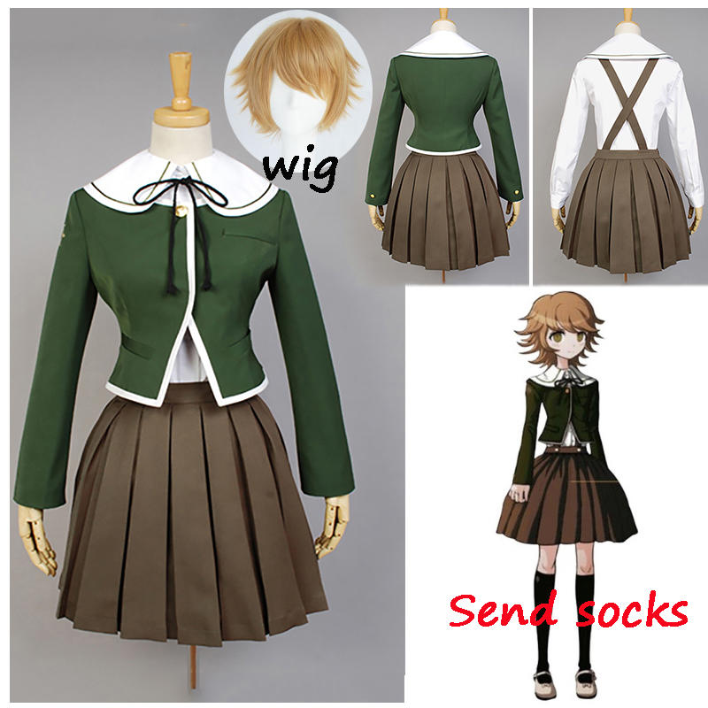 6PCS Danganronpa Fujisaki Chihiro Cosplay Women School Uniform Coat Shirt Dress Outfit Anime Cosplay Costumes And Wig Halloween