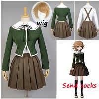 6PCS Danganronpa Fujisaki Chihiro Cosplay women School Uniform Coat Shirt Dress Outfit Anime Cosplay Costumes and wig Halloween
