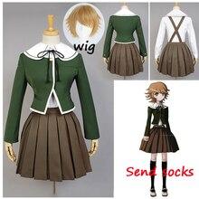 Danganronpa Cosplay de Fujisaki Chihiro para mujer, uniforme escolar, abrigo, camisa, traje, Cosplay de Anime, peluca, Halloween, 6 uds.