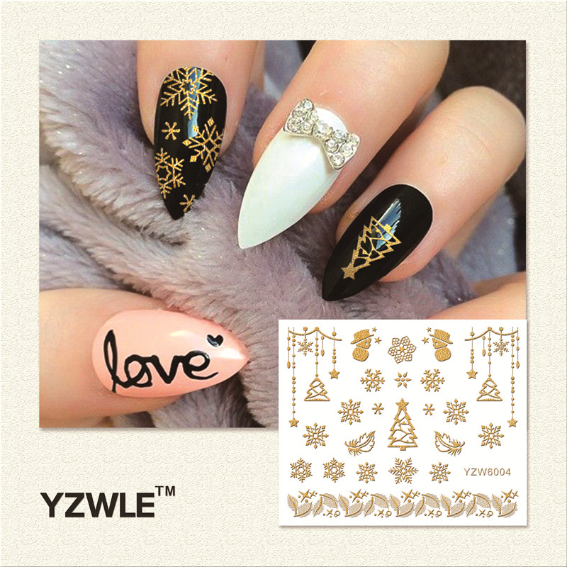 YZWLE 1 Sheet Hot Gold 3D Nail Art Stickers DIY Nail Decorations Decals Foils Wraps Manicure Styling Tools (YZW-6004) yzwle 1 sheet hot gold 3d nail art stickers diy nail decorations decals foils wraps manicure styling tools yzw 6018