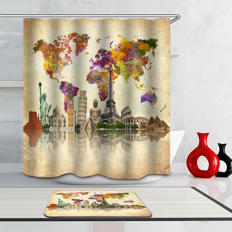 Place Of Historical Interest Paint Shower Curtain World Famous Buddha  Statue Of Liberty Eiffel Tower 71