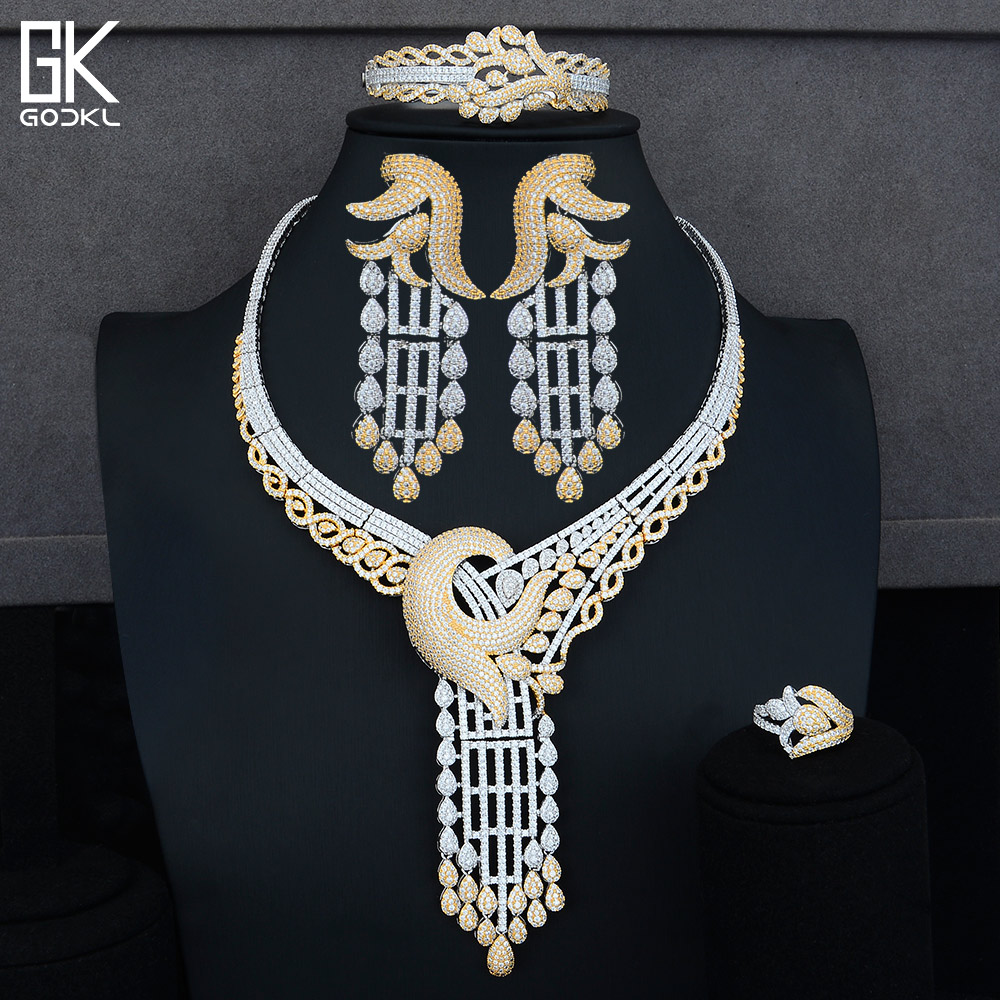 GODKI Luxury Long Tassel Shape Nigerian Bridal Jewelry Sets For Women Cubic Zirconia Crystal CZ Dubai Indian Gold jewelry Sets