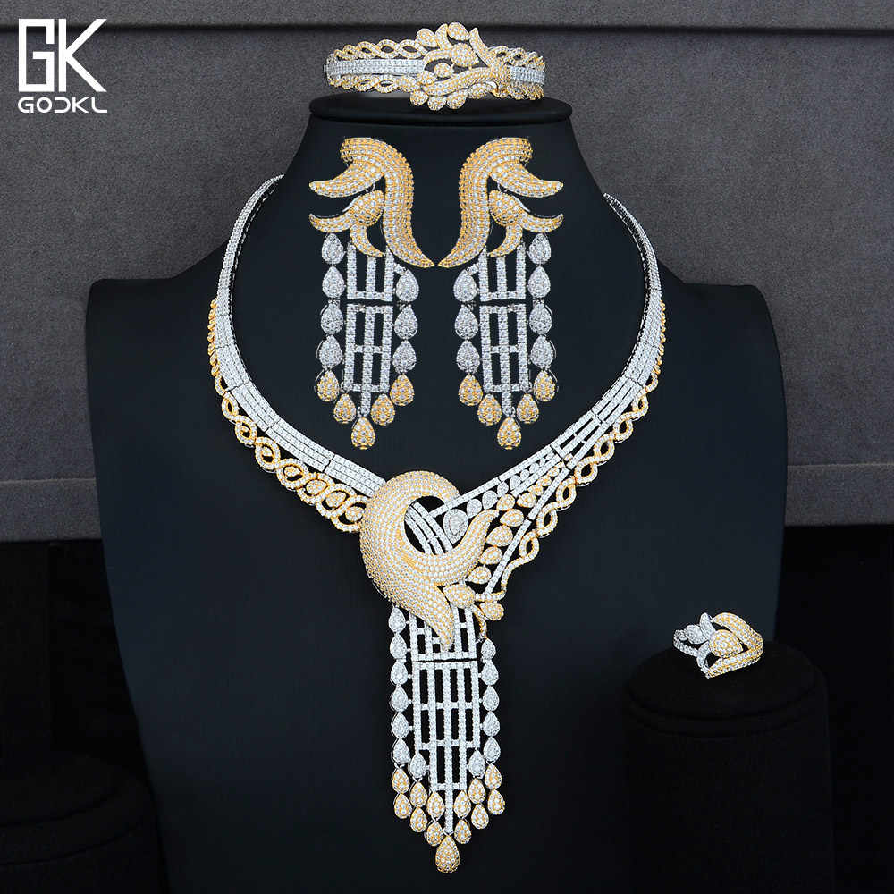 GODKI יוקרה ארוך ציצית צורת ניגרי כלה תכשיטי סטים לנשים מעוקב Zirconia קריסטל CZ דובאי הודי זהב תכשיטי סטים