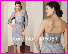 Silver Short Knee Length Lace Straight Mother of Bride Dress Gown With Jacket M774