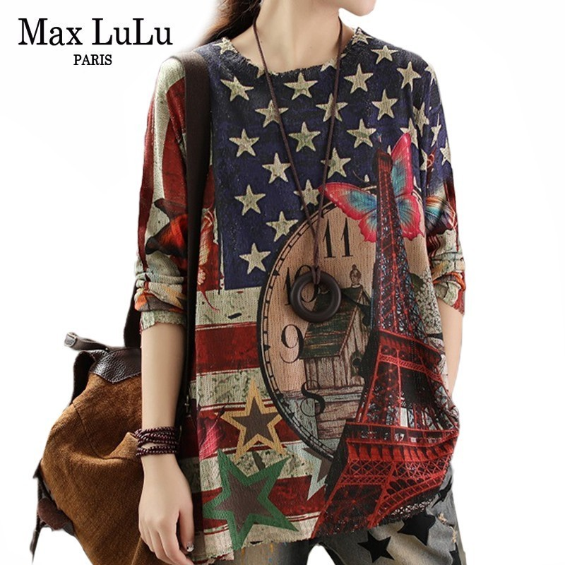 Max LuLu 2019 European Fashion Luxury Style Ladies Winter Sweaters Ladies Knitted Printed Pullover Casual Knitwear Cotton Jumper