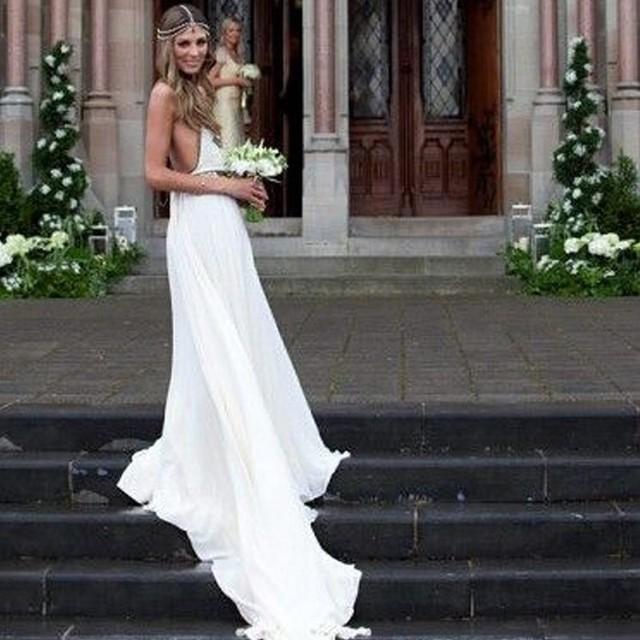Beach Wedding Dresses Boho Dress 2017 Bohemian Off Shoulder Sleeveless Backless Bride Halter Bridal