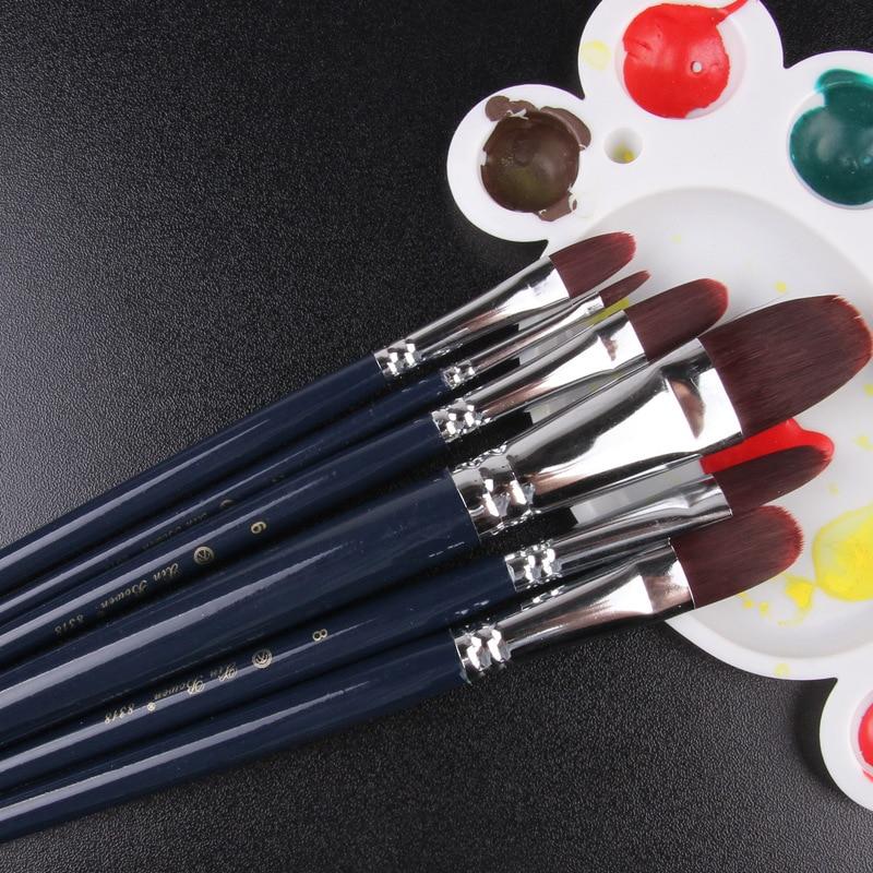 6pcs/set Fine Artist Nylon Hair Paint Brush Silver Plated Copper Tube Art Brushes For Drawing Gouache Oil Painting Brush Art