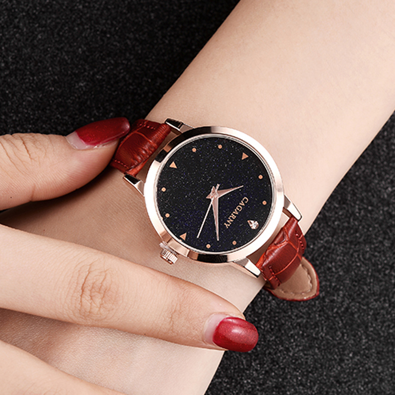 luxury brand cagarny quartz watch for women blue sky dials creative casual ladies watches rose gold case drop shipping (30)
