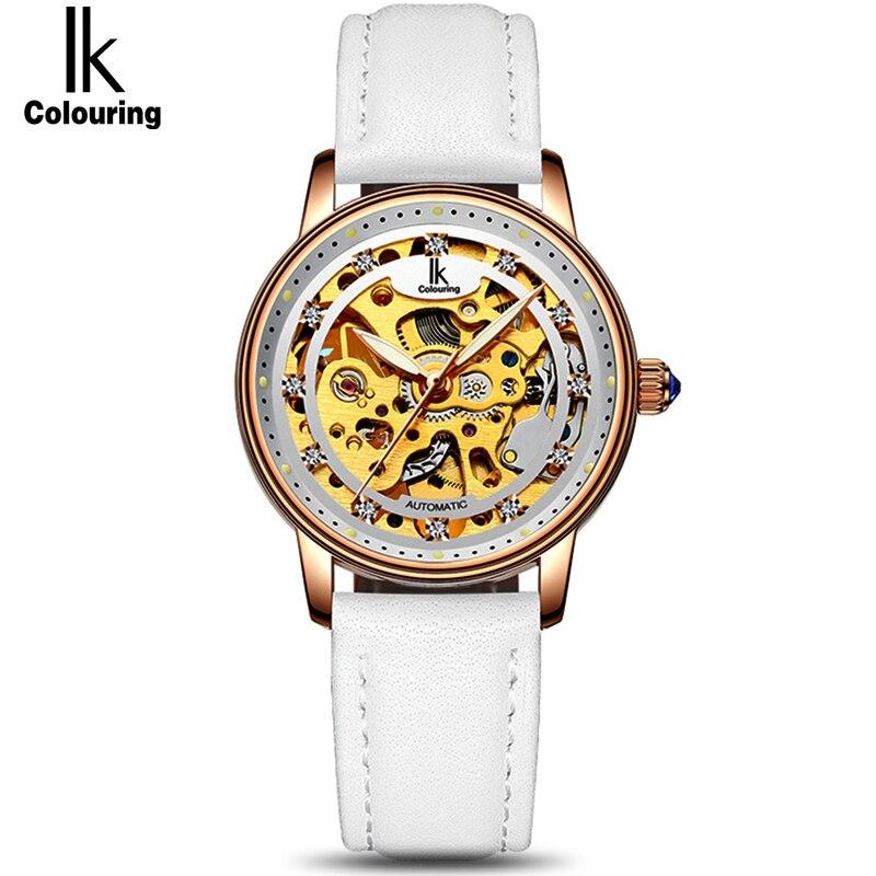 IK Женский Белый розовое золото Автоматический Self-Wind деловые часы для женщин пояса из натуральной кожи ремешок скелет Модные женские