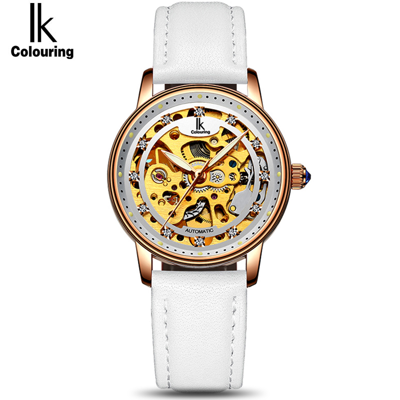 IK Female White Rose Gold Automatic Self-Wind Mechanical Watches Women Genuine Leather Strap Skeleton Watch Fashion Ladies