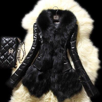 2016 Fashion Winter Warm Coat Women's Faux Fur Coat Leather Outerwear Long Parkas Jackets Black LML125