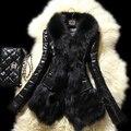 2016 de La Moda de Invierno Cálido Abrigo de Las Mujeres Abrigo de Piel de Imitación de Cuero prendas de Vestir Exteriores Parkas Largas Chaquetas Negro LML125