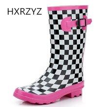 HXRZYZ женщин дождь сапоги дамы высокие канистры резиновые сапоги новый модный плед скользкий водонепроницаемый весна / осень обувь женщина