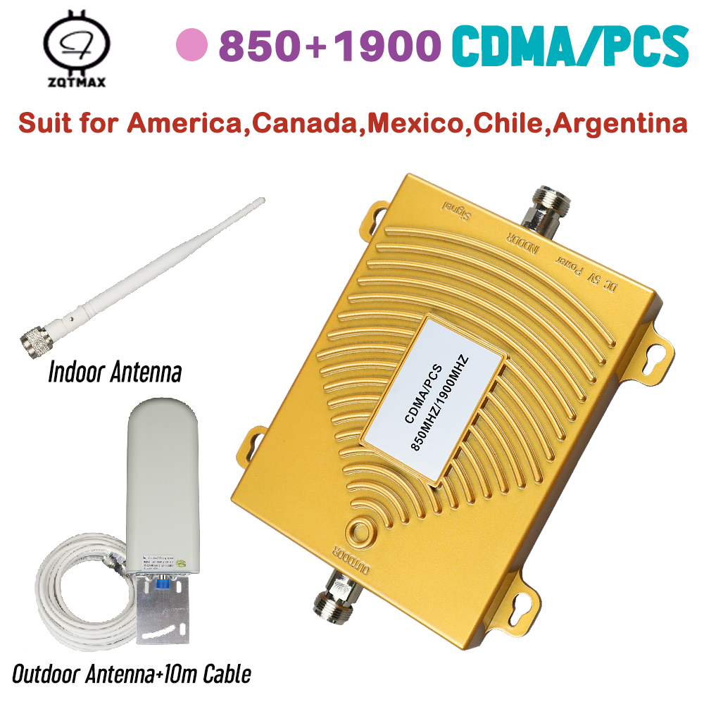 DUAL BAND 850 / 1900mhz 2G 3G 4G Smart Large Coverage Cell Phone Signal Booster Mobile Signal Repeater Amplifier Home Sets