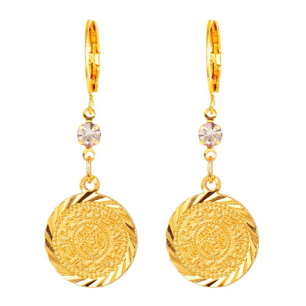 Image 2 - Arab Islamic Women Girls Gold color Ancient Coins Dangle Drop Earrings JewelryDrop Earrings
