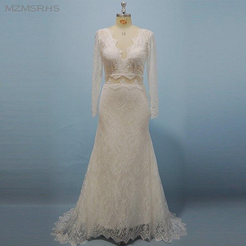Mz Msrhs New Long Sleeves Vintage Lace Backless Wedding Dresses