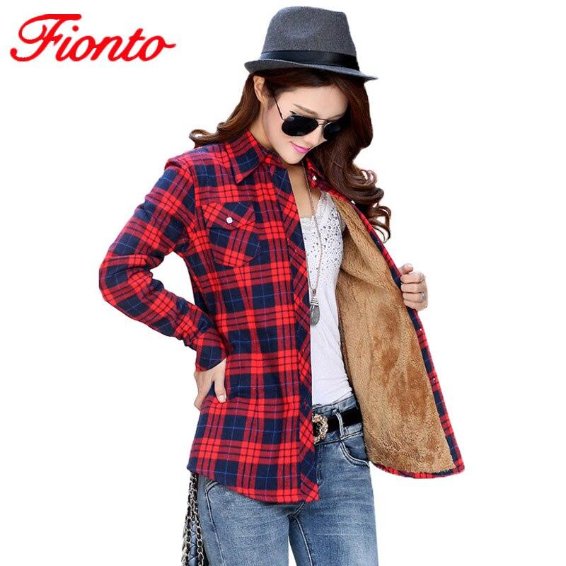 Womens Shirt Velvet Thick Warm Female Plaid Blouses Long Sleeve Tops M-XXL Autumn Winter blusas blouse shirts 20 colors A1891-1