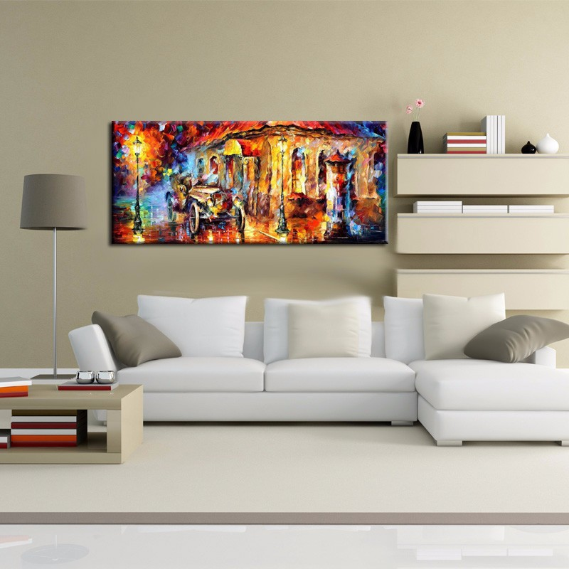 2017 no framed Large Handpainted Rain Street Tree Landscape Oil Painting On Canvas Wall Art Wall Picture For bed Room Home Decor