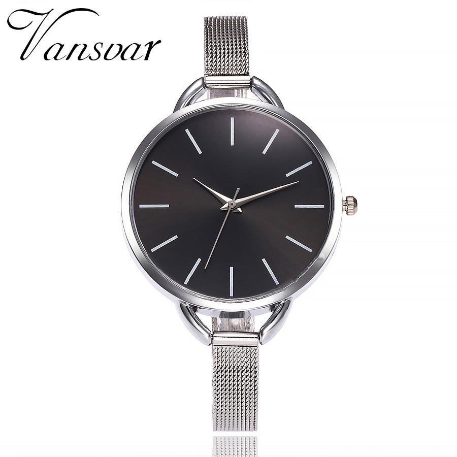 Vansvar Brand Fashion Colorful Dial Silver Mesh Stainless Steel Quartz Watches Women Wristwatch Reloj Mujer Relogio Feminino