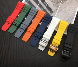 Image 1 - New 20mm Red White Black Green Gray Blue Yellow Orange Rubber Watchband  For Richard strap for RM011 Mille Bracelet watch band