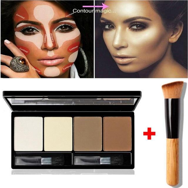 4 cores Kit de contorno corretivo paleta de sombra marcador Facial V de  decoração de Bronze cf9fdd5b6ff4