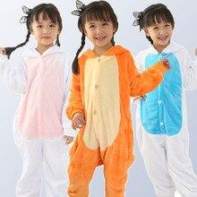 Boy Girl Pajamas Rainbow Panda Children Pajamas Unisex Flannel Stitch Kids pajama Cartoon Animal Cosplay Onesies kigurumi